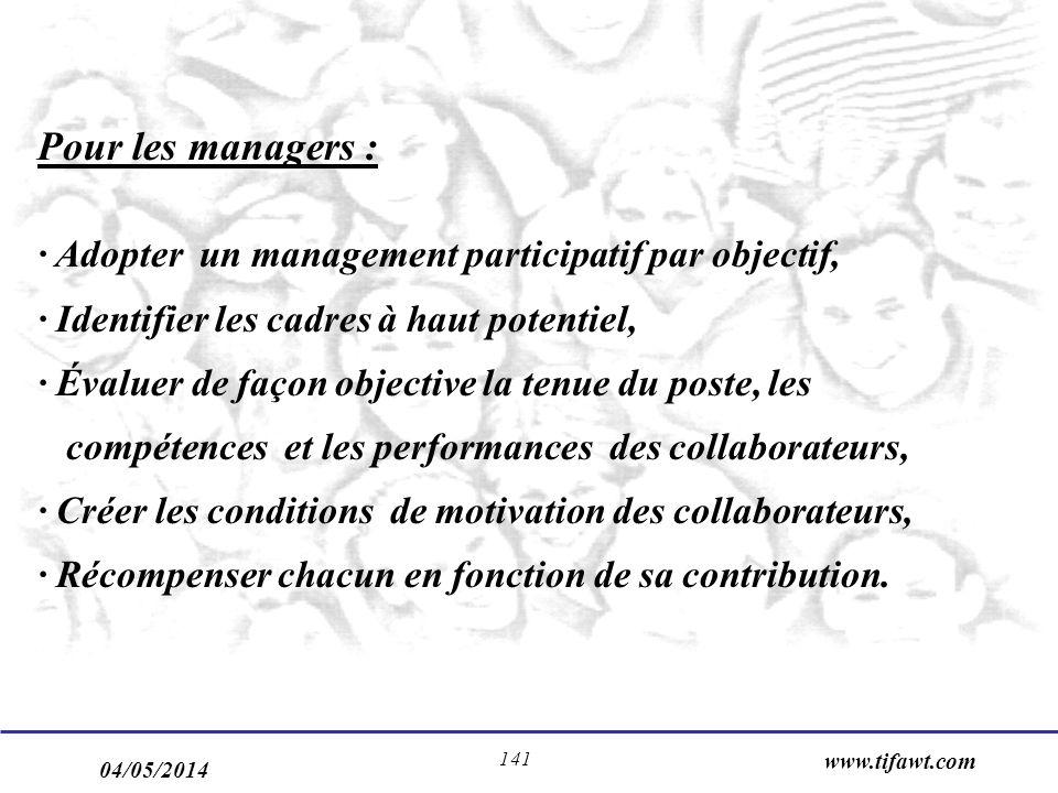 04/05/2014 www.tifawt.com 141 Pour les managers : · Adopter un management participatif par objectif, · Identifier les cadres à haut potentiel, · Évalu