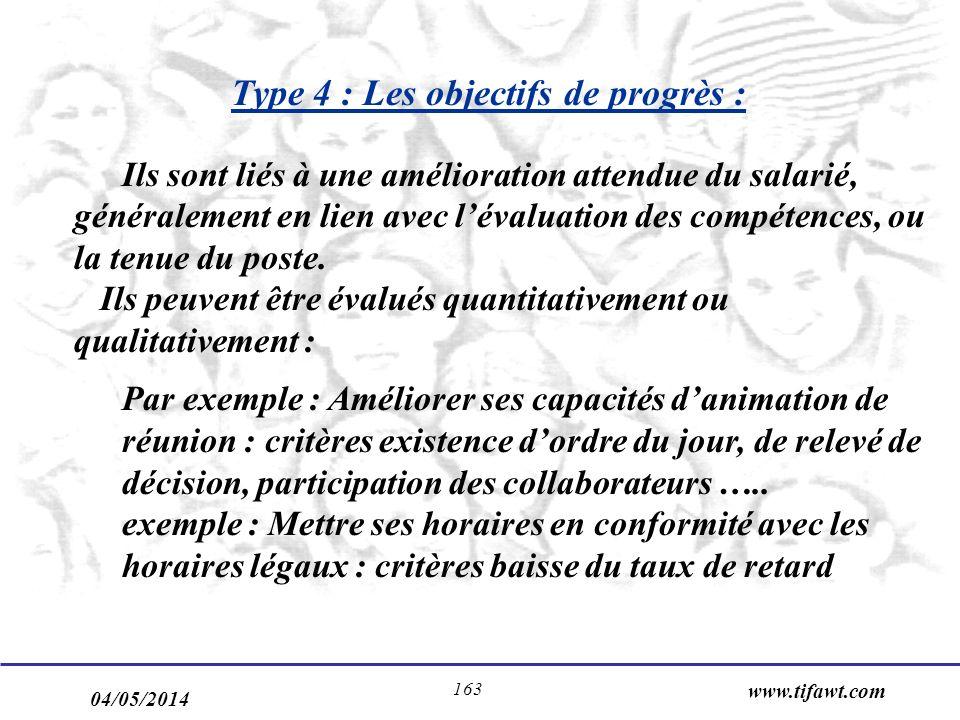 04/05/2014 www.tifawt.com 163 Type 4 : Les objectifs de progrès : Ils sont liés à une amélioration attendue du salarié, généralement en lien avec lévaluation des compétences, ou la tenue du poste.