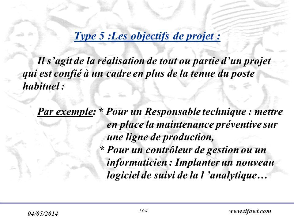 04/05/2014 www.tifawt.com 164 Type 5 :Les objectifs de projet : Il sagit de la réalisation de tout ou partie dun projet qui est confié à un cadre en plus de la tenue du poste habituel : Par exemple: * Pour un Responsable technique : mettre en place la maintenance préventive sur une ligne de production, * Pour un contrôleur de gestion ou un informaticien : Implanter un nouveau logiciel de suivi de la l analytique…