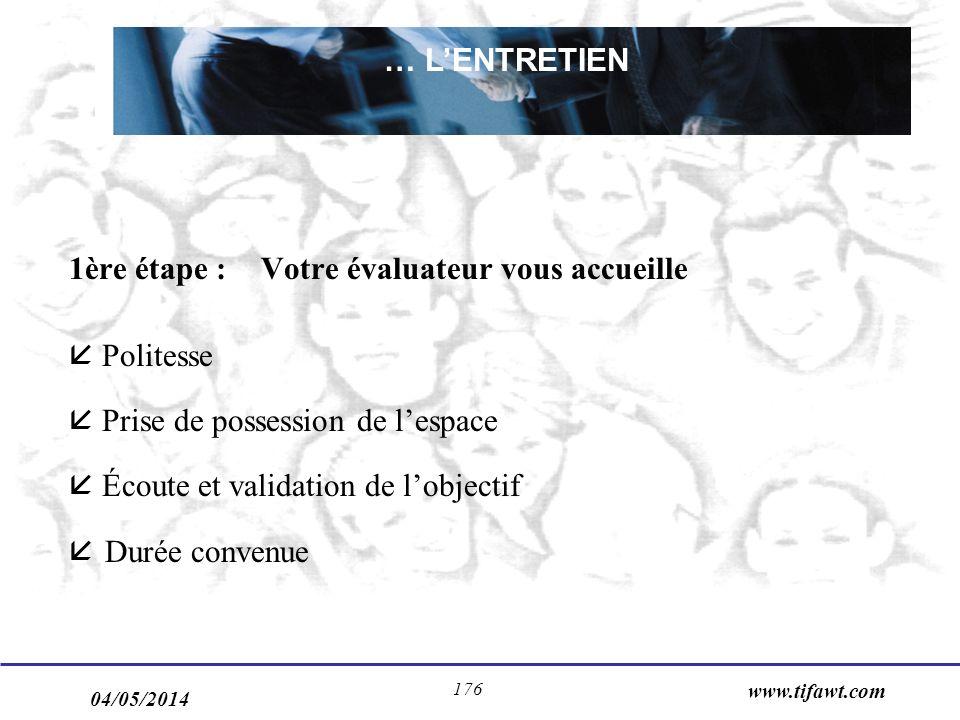 04/05/2014 www.tifawt.com 176 1ère étape : Votre évaluateur vous accueille Politesse Prise de possession de lespace Écoute et validation de lobjectif åDurée convenue … LENTRETIEN