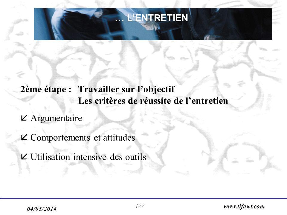 04/05/2014 www.tifawt.com 177 2ème étape : Travailler sur lobjectif Les critères de réussite de lentretien Argumentaire Comportements et attitudes Utilisation intensive des outils … LENTRETIEN