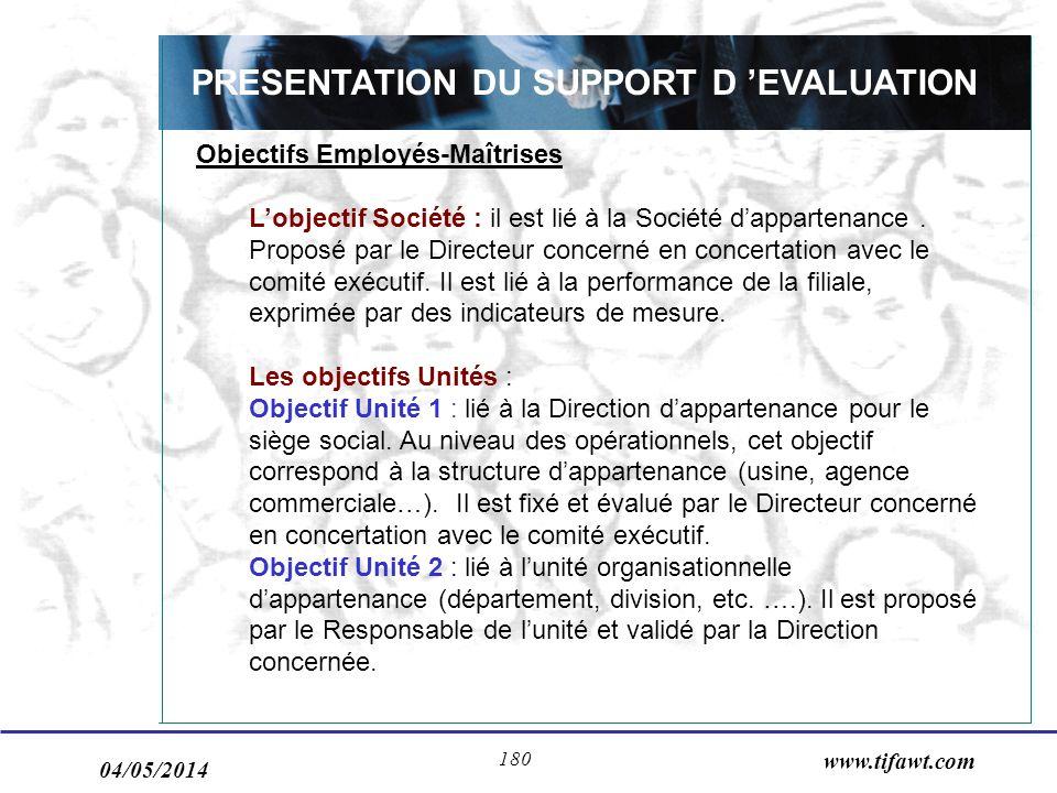 04/05/2014 www.tifawt.com 180 PRESENTATION DU SUPPORT D EVALUATION Objectifs Employés-Maîtrises Lobjectif Société : il est lié à la Société dappartena