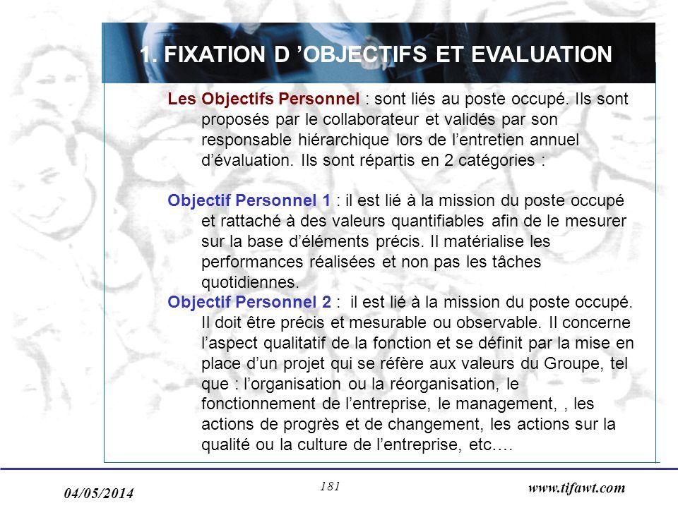 04/05/2014 www.tifawt.com 181 1. FIXATION D OBJECTIFS ET EVALUATION Les Objectifs Personnel : sont liés au poste occupé. Ils sont proposés par le coll