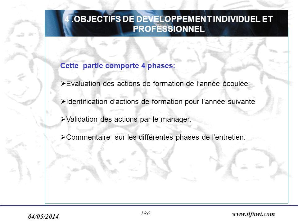 04/05/2014 www.tifawt.com 186 4.OBJECTIFS DE DEVELOPPEMENT INDIVIDUEL ET PROFESSIONNEL Cette partie comporte 4 phases: Evaluation des actions de forma