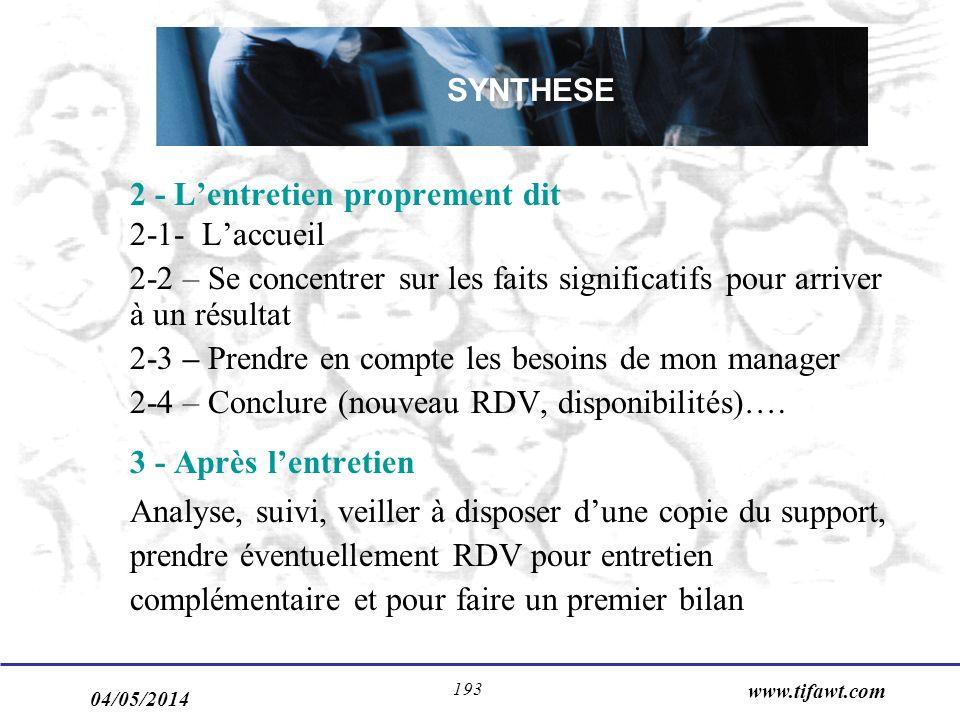 04/05/2014 www.tifawt.com 193 2 - Lentretien proprement dit 2-1- Laccueil 2-2 – Se concentrer sur les faits significatifs pour arriver à un résultat 2-3 – Prendre en compte les besoins de mon manager 2-4 – Conclure (nouveau RDV, disponibilités)….