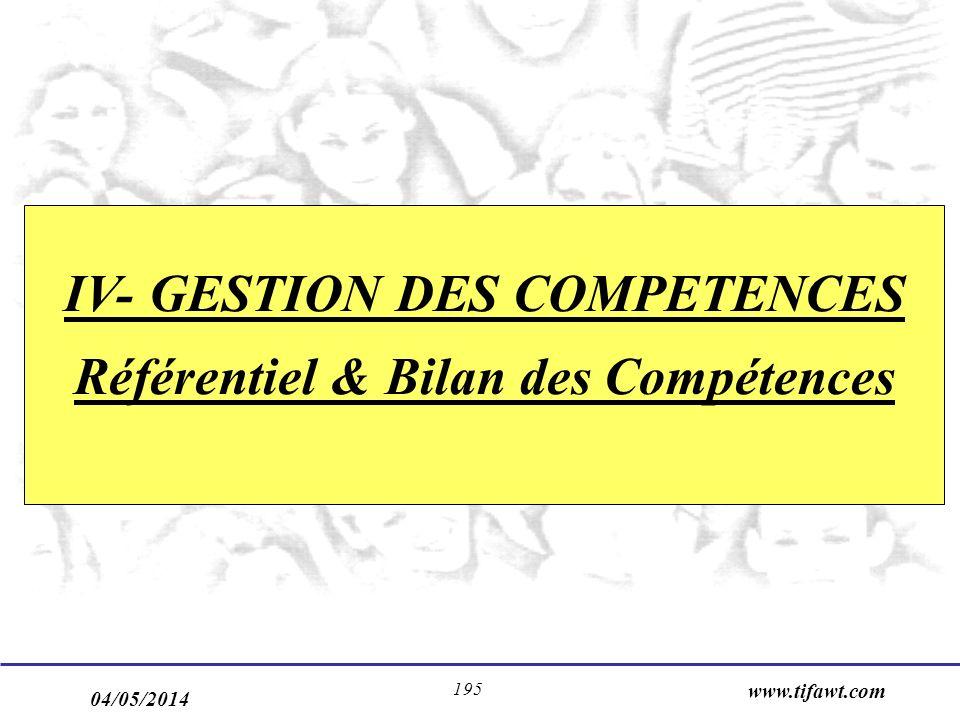 04/05/2014 www.tifawt.com 195 IV- GESTION DES COMPETENCES Référentiel & Bilan des Compétences