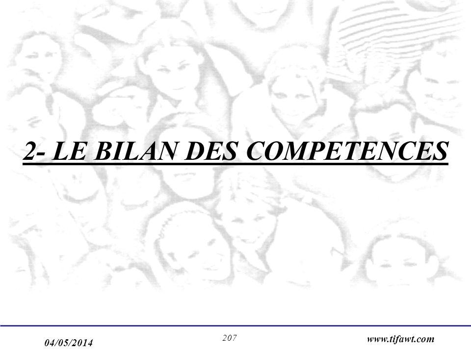 04/05/2014 www.tifawt.com 207 2- LE BILAN DES COMPETENCES