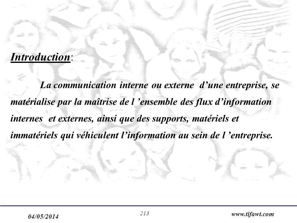 04/05/2014 www.tifawt.com 213 Introduction: La communication interne ou externe dune entreprise, se matérialise par la maîtrise de l ensemble des flux