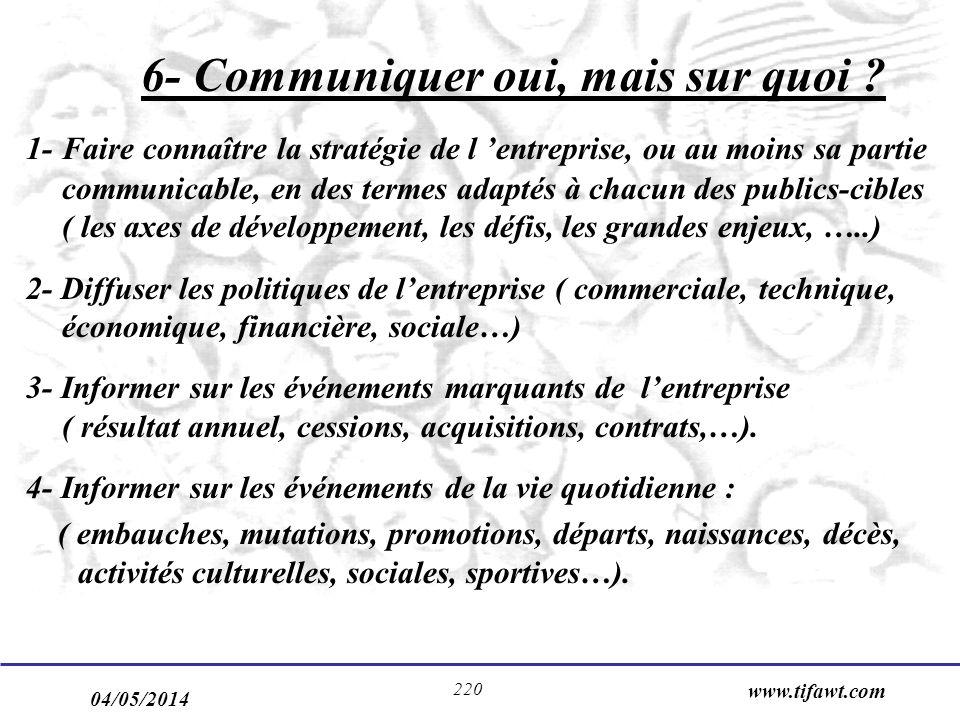 04/05/2014 www.tifawt.com 220 6- Communiquer oui, mais sur quoi ? 1- Faire connaître la stratégie de l entreprise, ou au moins sa partie communicable,