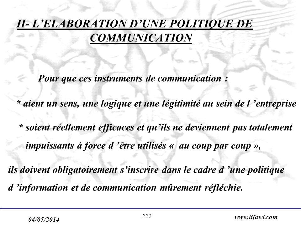 04/05/2014 www.tifawt.com 222 II- LELABORATION DUNE POLITIQUE DE COMMUNICATION Pour que ces instruments de communication : * aient un sens, une logiqu