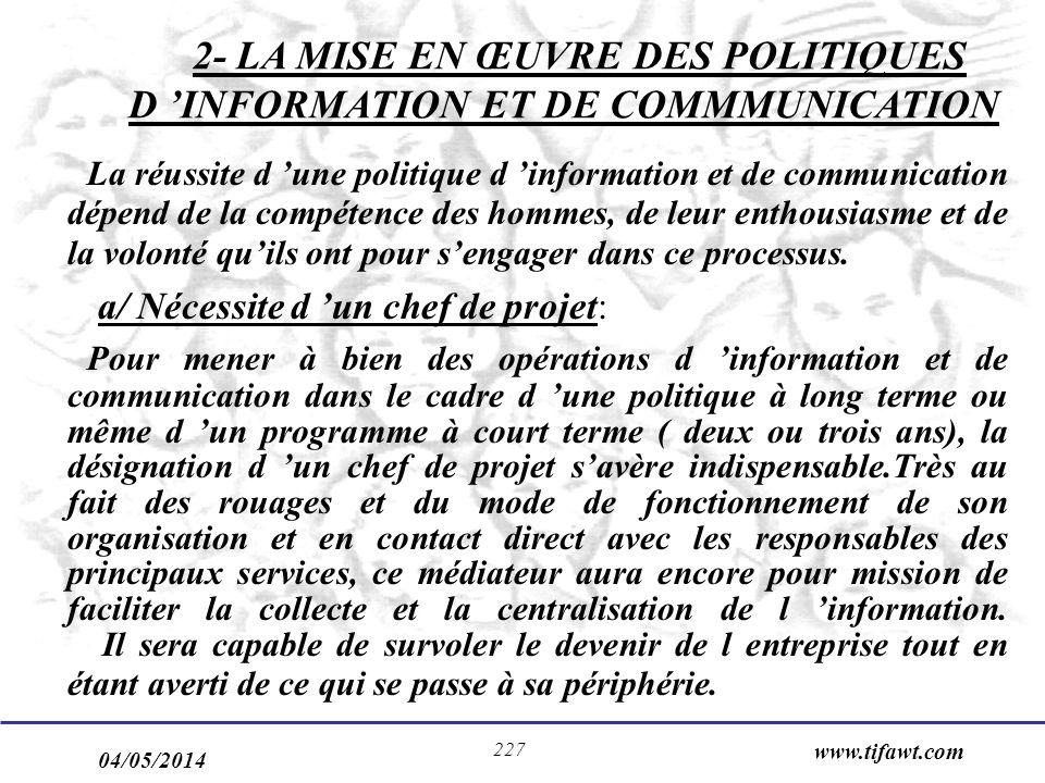 04/05/2014 www.tifawt.com 227 2- LA MISE EN ŒUVRE DES POLITIQUES D INFORMATION ET DE COMMMUNICATION La réussite d une politique d information et de co