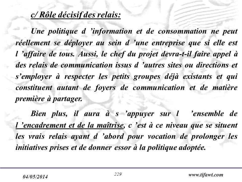 04/05/2014 www.tifawt.com 229 c/ Rôle décisif des relais: Une politique d information et de consommation ne peut réellement se déployer au sein d une entreprise que si elle est l affaire de tous.