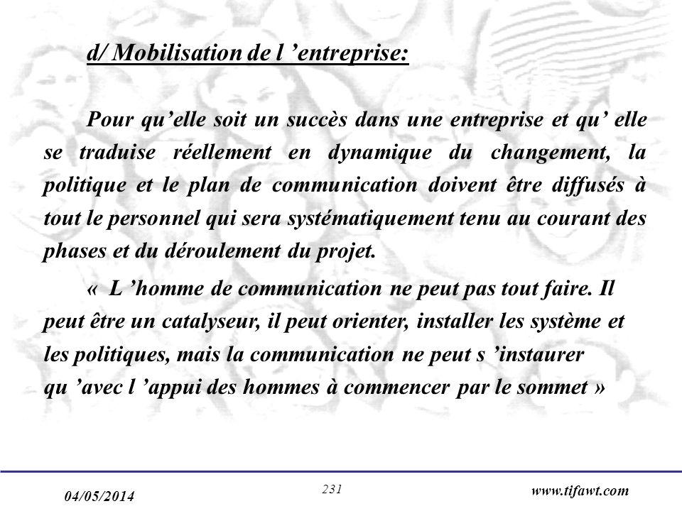 04/05/2014 www.tifawt.com 231 d/ Mobilisation de l entreprise: Pour quelle soit un succès dans une entreprise et qu elle se traduise réellement en dyn