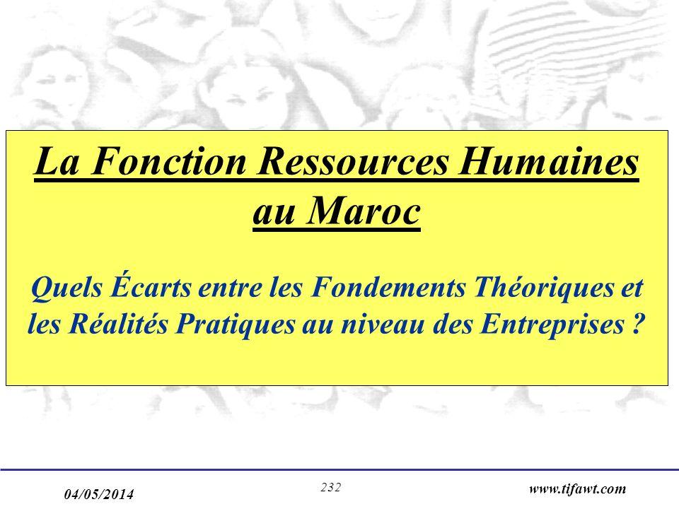 04/05/2014 www.tifawt.com 232 La Fonction Ressources Humaines au Maroc Quels Écarts entre les Fondements Théoriques et les Réalités Pratiques au nivea
