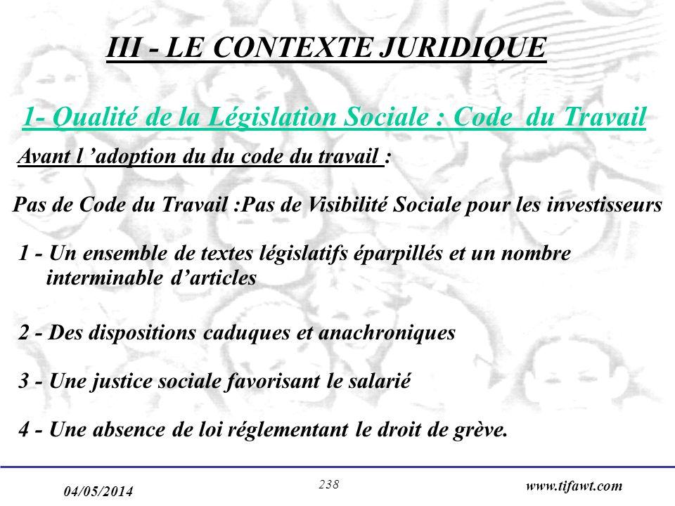 04/05/2014 www.tifawt.com 238 1- Qualité de la Législation Sociale : Code du Travail Avant l adoption du du code du travail : Pas de Code du Travail :