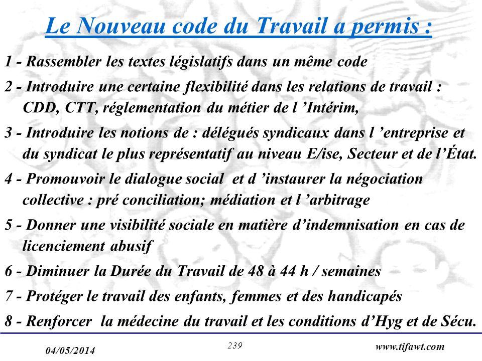 04/05/2014 www.tifawt.com 239 Le Nouveau code du Travail a permis : 1 - Rassembler les textes législatifs dans un même code 2 - Introduire une certain