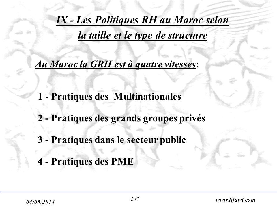 04/05/2014 www.tifawt.com 247 Au Maroc la GRH est à quatre vitesses: 1 - Pratiques des Multinationales 2 - Pratiques des grands groupes privés 3 - Pratiques dans le secteur public 4 - Pratiques des PME IX - Les Politiques RH au Maroc selon la taille et le type de structure