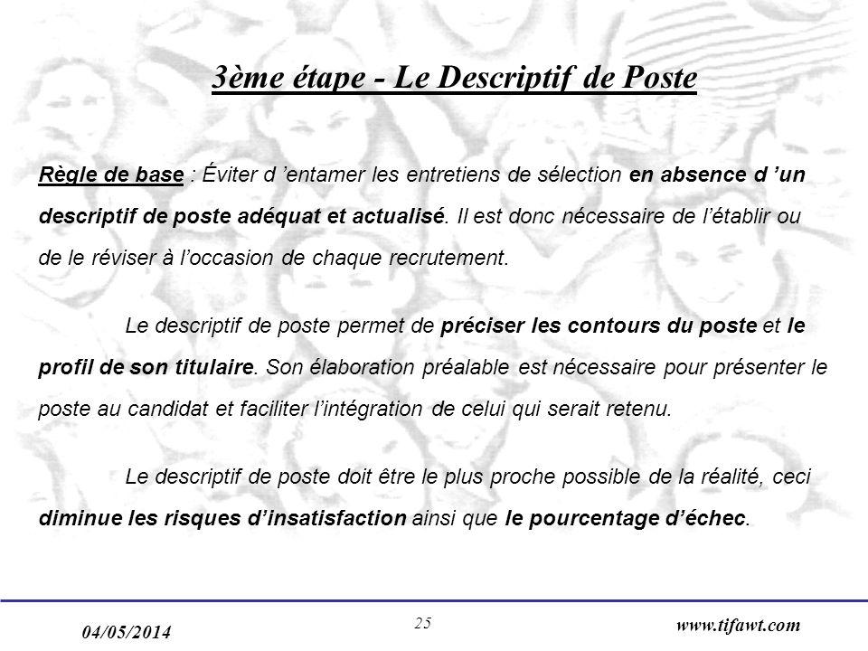04/05/2014 www.tifawt.com 25 3ème étape - Le Descriptif de Poste Règle de base : Éviter d entamer les entretiens de sélection en absence d un descript