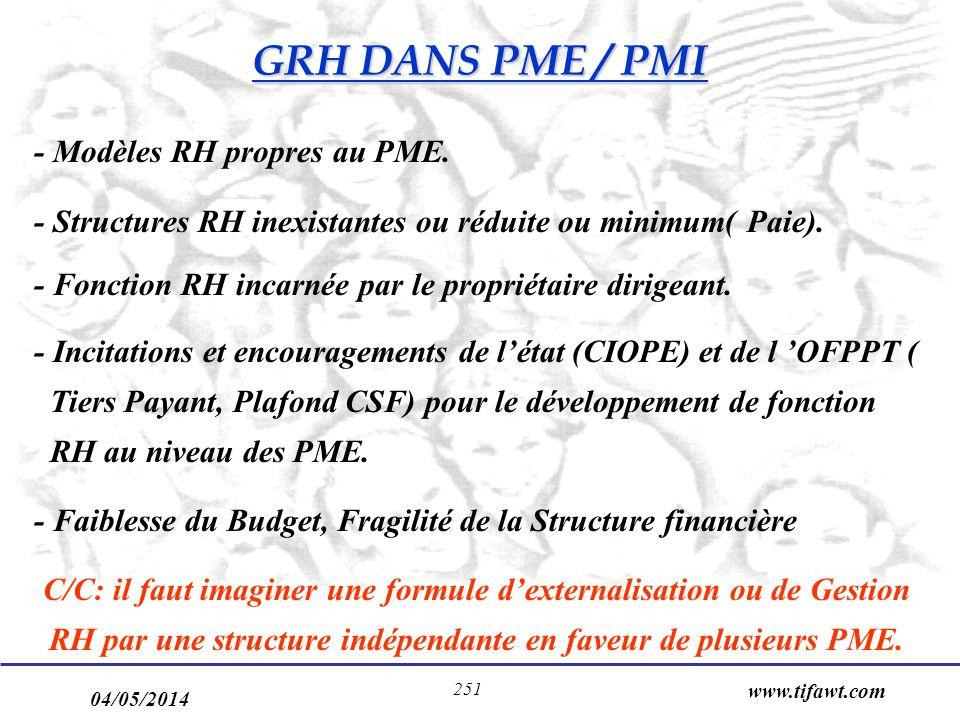 04/05/2014 www.tifawt.com 251 - Modèles RH propres au PME. - Structures RH inexistantes ou réduite ou minimum( Paie). - Fonction RH incarnée par le pr