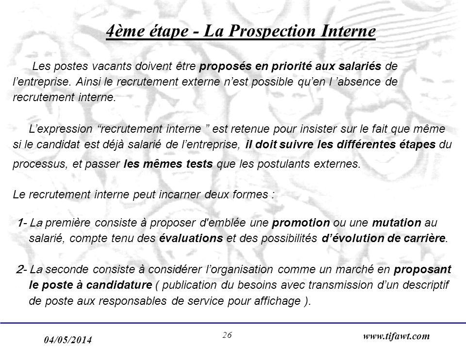 04/05/2014 www.tifawt.com 26 4ème étape - La Prospection Interne Les postes vacants doivent être proposés en priorité aux salariés de lentreprise. Ain