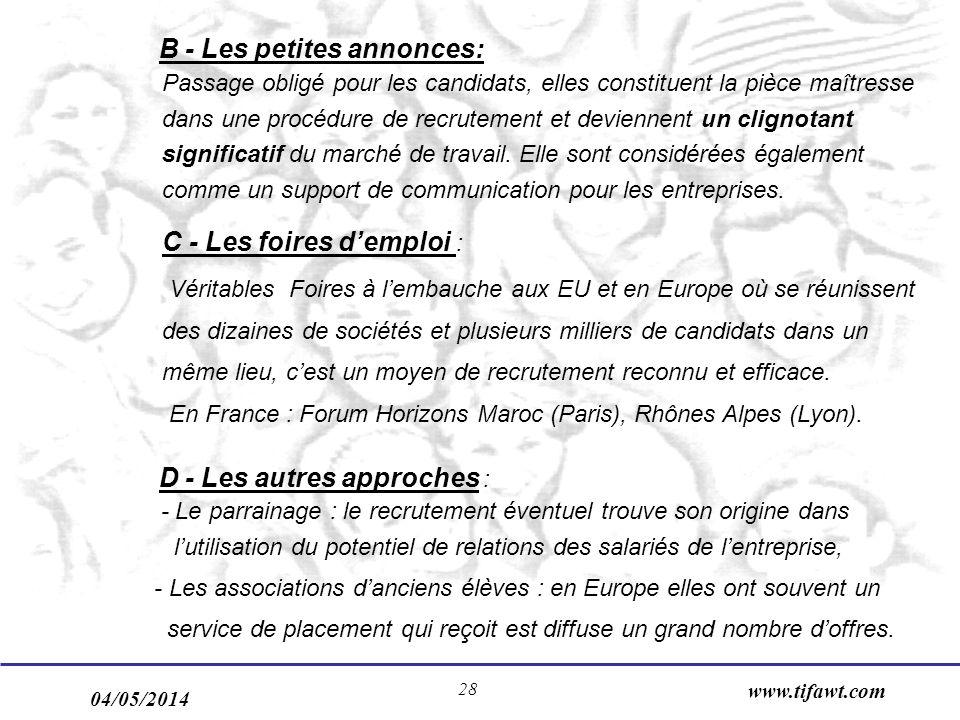 04/05/2014 www.tifawt.com 28 B - Les petites annonces: Passage obligé pour les candidats, elles constituent la pièce maîtresse dans une procédure de r