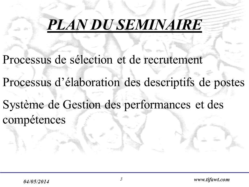 04/05/2014 www.tifawt.com 3 PLAN DU SEMINAIRE Processus de sélection et de recrutement Processus délaboration des descriptifs de postes Système de Gestion des performances et des compétences