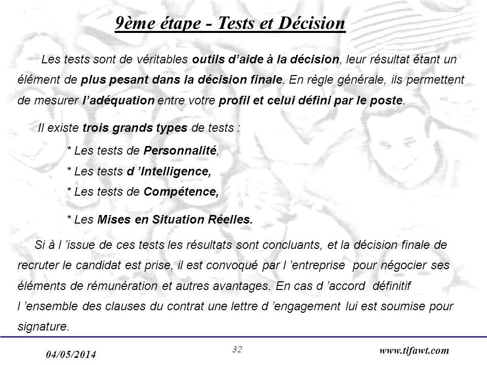 04/05/2014 www.tifawt.com 32 9ème étape - Tests et Décision Les tests sont de véritables outils daide à la décision, leur résultat étant un élément de