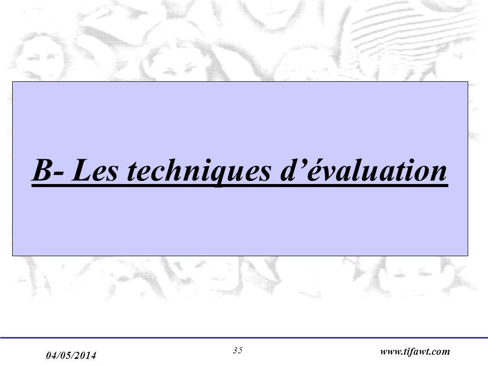 04/05/2014 www.tifawt.com 35 B- Les techniques dévaluation