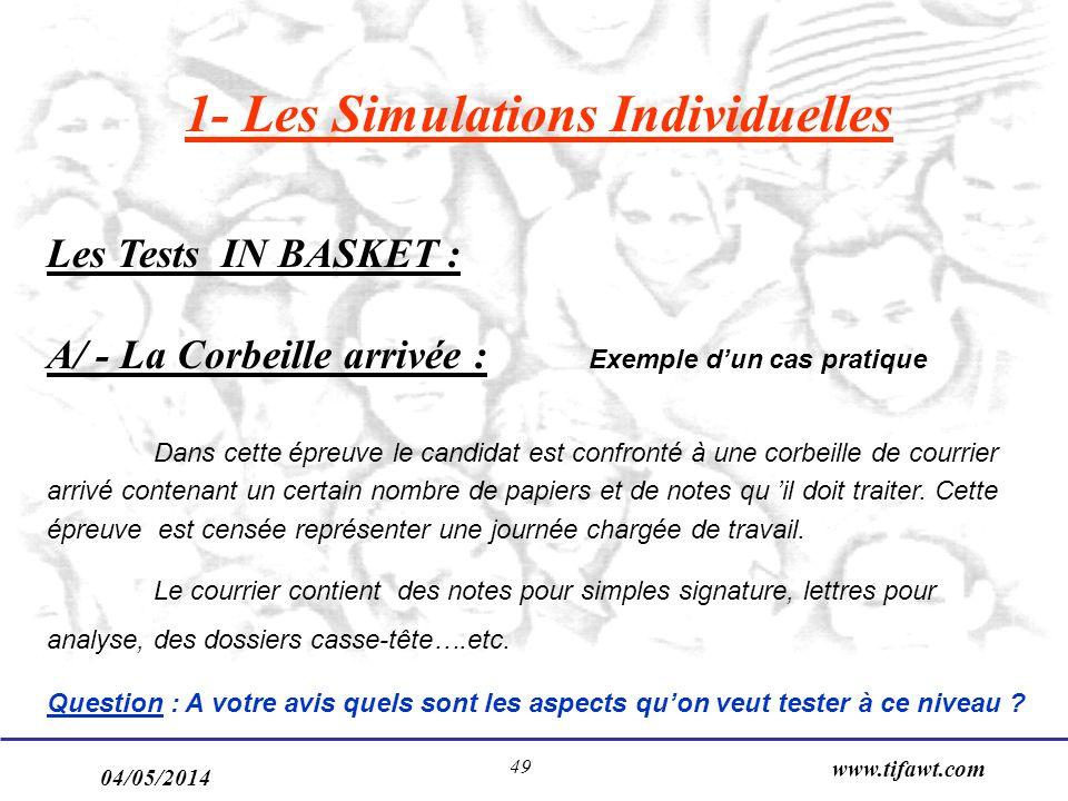 04/05/2014 www.tifawt.com 49 1- Les Simulations Individuelles Les Tests IN BASKET : A/ - La Corbeille arrivée : Exemple dun cas pratique Dans cette ép