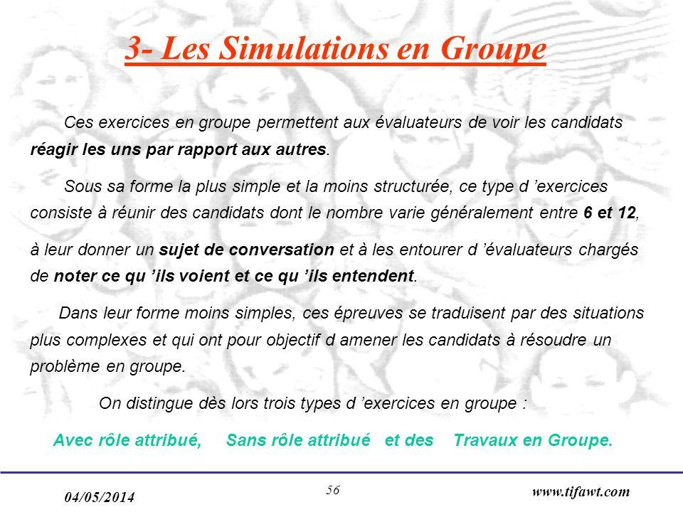 04/05/2014 www.tifawt.com 56 3- Les Simulations en Groupe Ces exercices en groupe permettent aux évaluateurs de voir les candidats réagir les uns par rapport aux autres.
