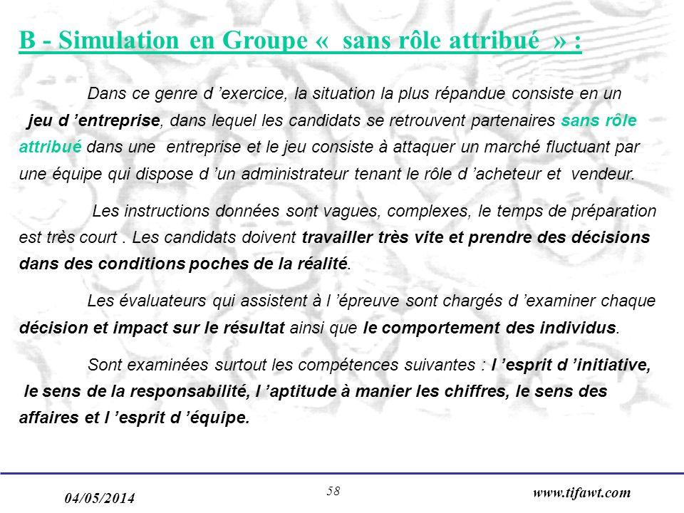 04/05/2014 www.tifawt.com 58 B - Simulation en Groupe « sans rôle attribué » : Dans ce genre d exercice, la situation la plus répandue consiste en un