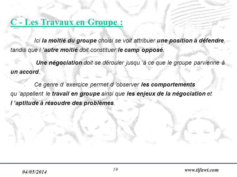 04/05/2014 www.tifawt.com 59 C - Les Travaux en Groupe : Ici la moitié du groupe choisi se voit attribuer une position à défendre, tandis que l autre moitié doit constituer le camp opposé.
