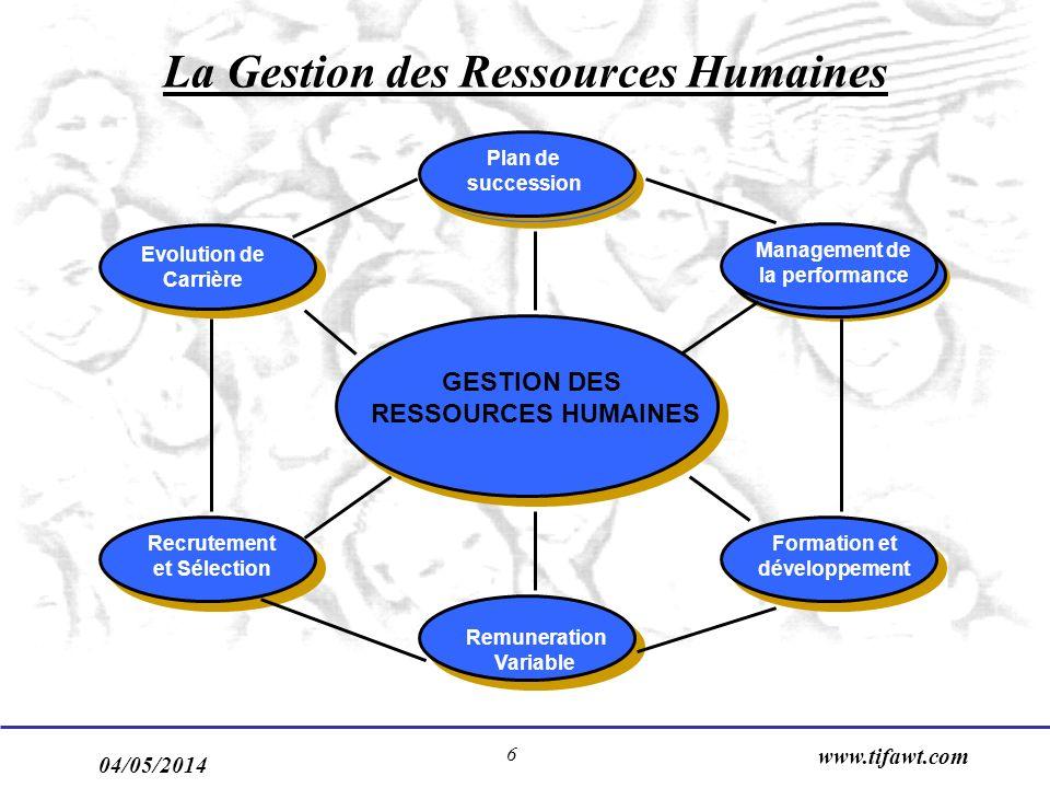 04/05/2014 www.tifawt.com 6 La Gestion des Ressources Humaines Evolution de Carrière Plan de succession Management de la performance Formation et déve