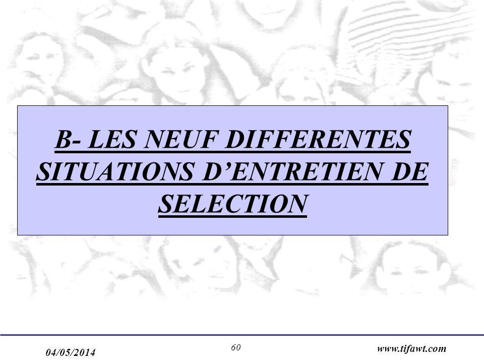 04/05/2014 www.tifawt.com 60 B- LES NEUF DIFFERENTES SITUATIONS DENTRETIEN DE SELECTION