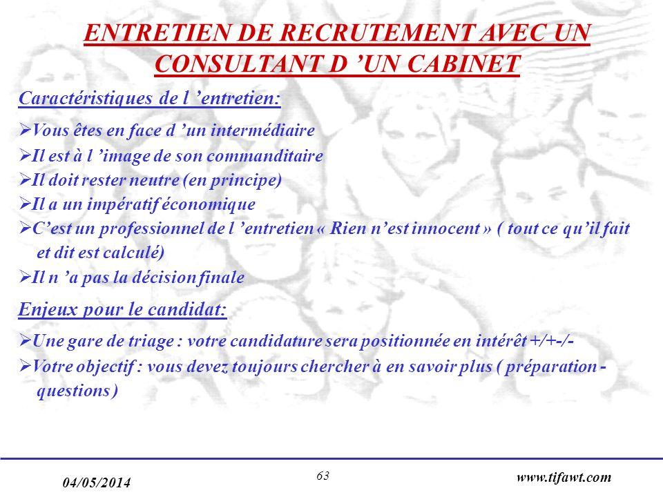 04/05/2014 www.tifawt.com 63 ENTRETIEN DE RECRUTEMENT AVEC UN CONSULTANT D UN CABINET Caractéristiques de l entretien: Vous êtes en face d un interméd