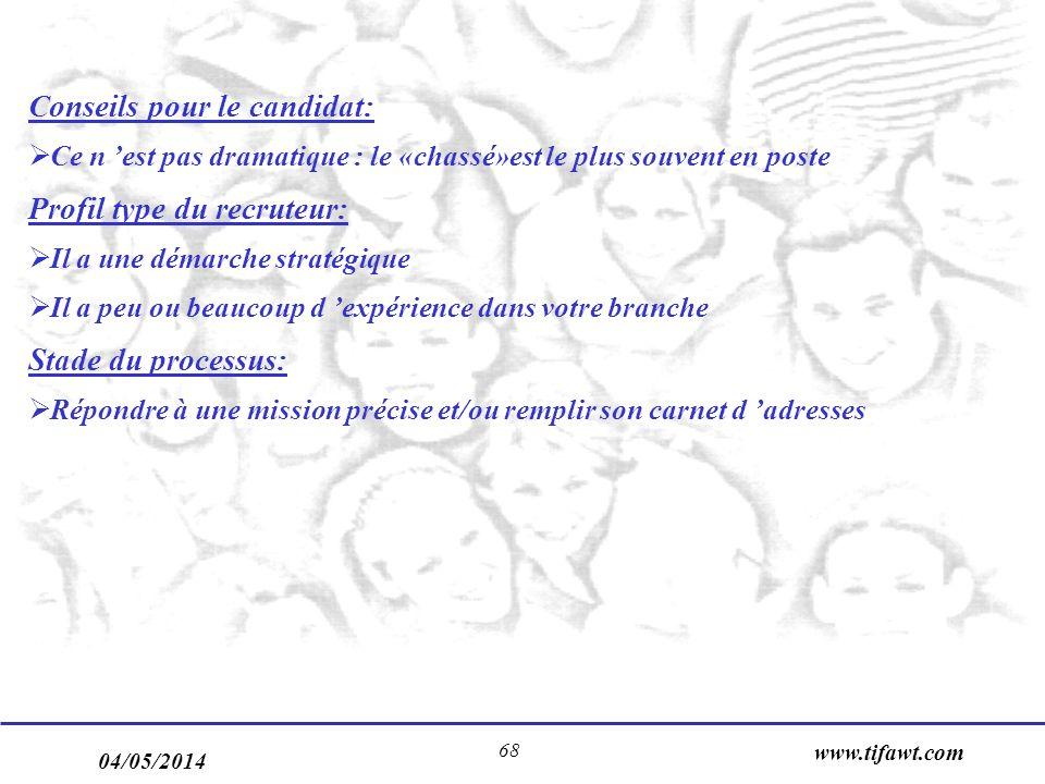 04/05/2014 www.tifawt.com 68 Conseils pour le candidat: Ce n est pas dramatique : le «chassé»est le plus souvent en poste Profil type du recruteur: Il
