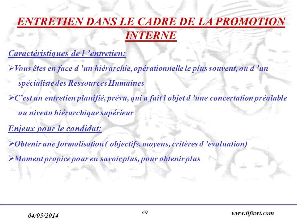 04/05/2014 www.tifawt.com 69 ENTRETIEN DANS LE CADRE DE LA PROMOTION INTERNE Caractéristiques de l entretien: Vous êtes en face d un hiérarchie, opéra