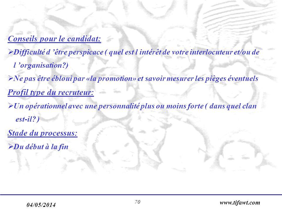 04/05/2014 www.tifawt.com 70 Conseils pour le candidat: Difficulté d être perspicace ( quel est l intérêt de votre interlocuteur et/ou de l organisati