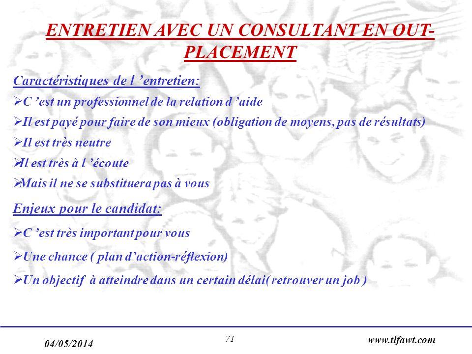 04/05/2014 www.tifawt.com 71 ENTRETIEN AVEC UN CONSULTANT EN OUT- PLACEMENT Caractéristiques de l entretien: C est un professionnel de la relation d a