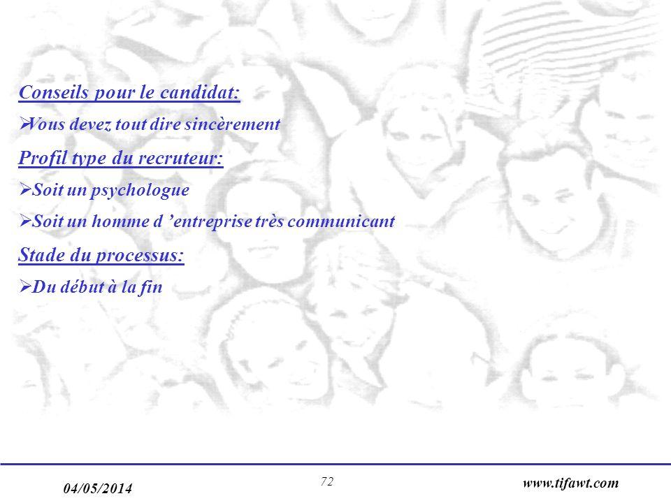 04/05/2014 www.tifawt.com 72 Conseils pour le candidat: Vous devez tout dire sincèrement Profil type du recruteur: Soit un psychologue Soit un homme d entreprise très communicant Stade du processus: Du début à la fin