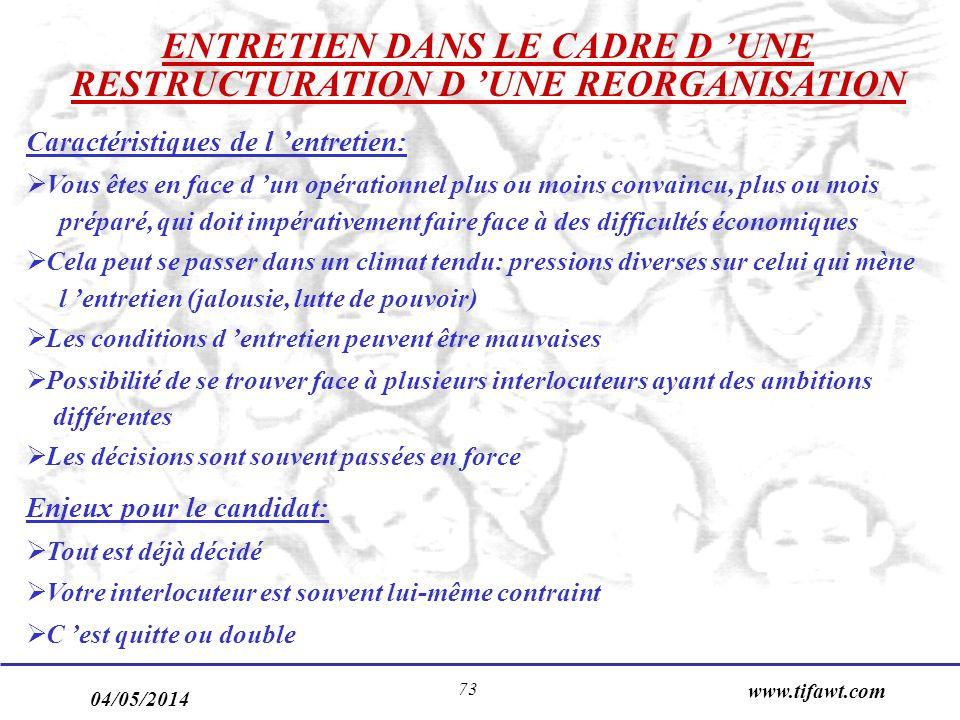 04/05/2014 www.tifawt.com 73 ENTRETIEN DANS LE CADRE D UNE RESTRUCTURATION D UNE REORGANISATION Caractéristiques de l entretien: Vous êtes en face d u