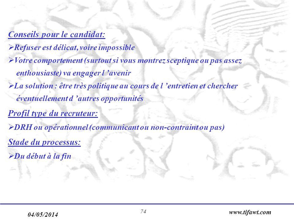 04/05/2014 www.tifawt.com 74 Conseils pour le candidat: Refuser est délicat, voire impossible Votre comportement (surtout si vous montrez sceptique ou