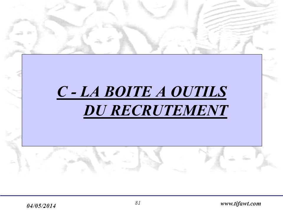 04/05/2014 www.tifawt.com 81 C - LA BOITE A OUTILS DU RECRUTEMENT
