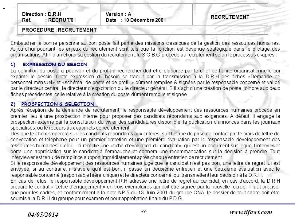 04/05/2014 www.tifawt.com 86 Embaucher la bonne personne au bon poste fait partie des missions classiques de la gestion des ressources humaines.