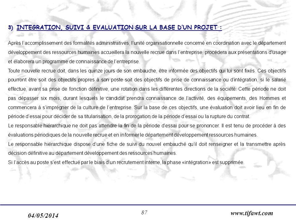 04/05/2014 www.tifawt.com 87 3) INTEGRATION, SUIVI & EVALUATION SUR LA BASE DUN PROJET : Après laccomplissement des formalités administratives, lunité