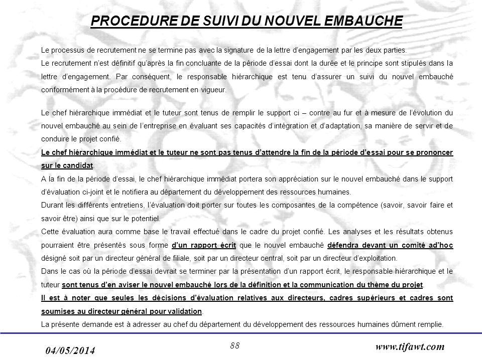 04/05/2014 www.tifawt.com 88 Le processus de recrutement ne se termine pas avec la signature de la lettre dengagement par les deux parties. Le recrute