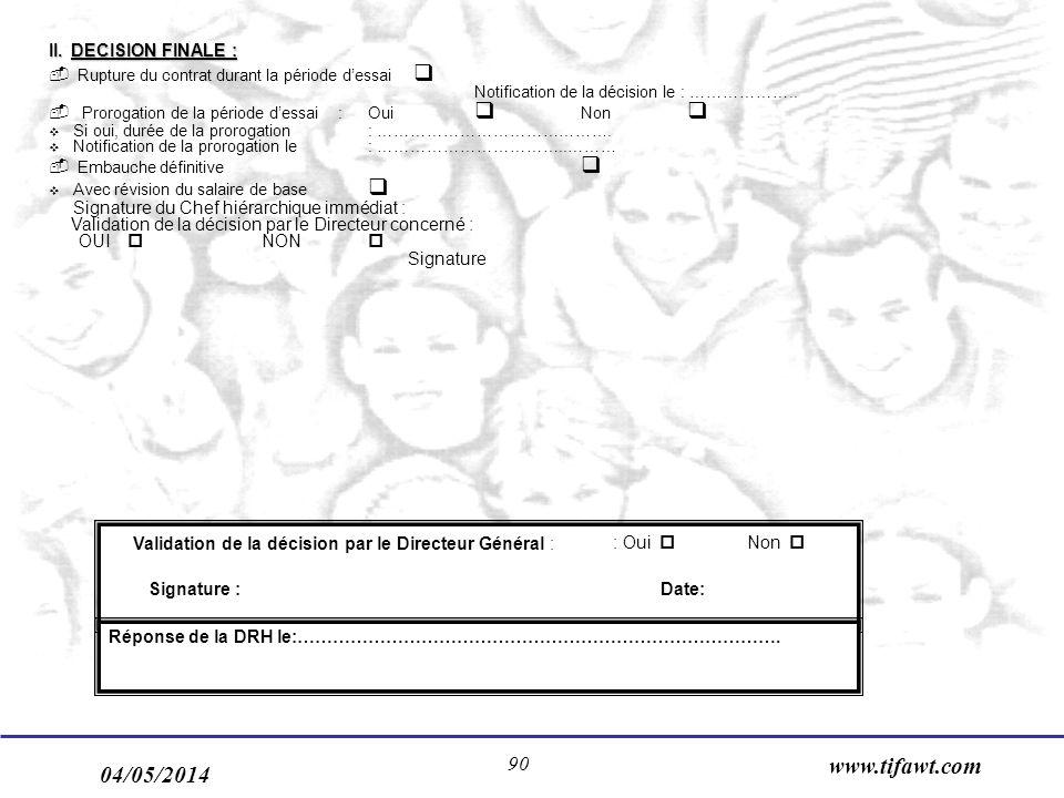 04/05/2014 www.tifawt.com 90 II. DECISION FINALE : - Rupture du contrat durant la période dessai Notification de la décision le : ……………….. - Prorogati