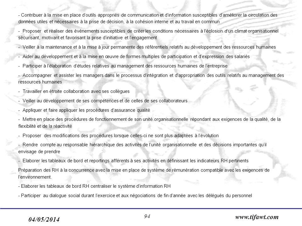 04/05/2014 www.tifawt.com 94 - Contribuer à la mise en place doutils appropriés de communication et dinformation susceptibles daméliorer la circulatio