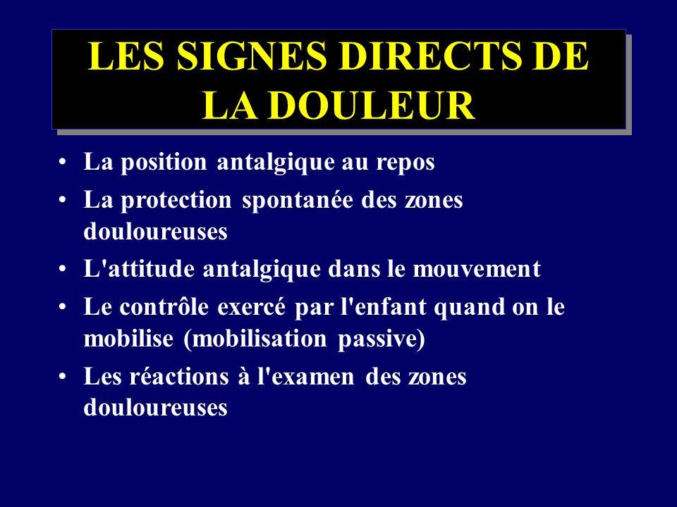 LES SIGNES DIRECTS DE LA DOULEUR La position antalgique au repos La protection spontanée des zones douloureuses L'attitude antalgique dans le mouvemen