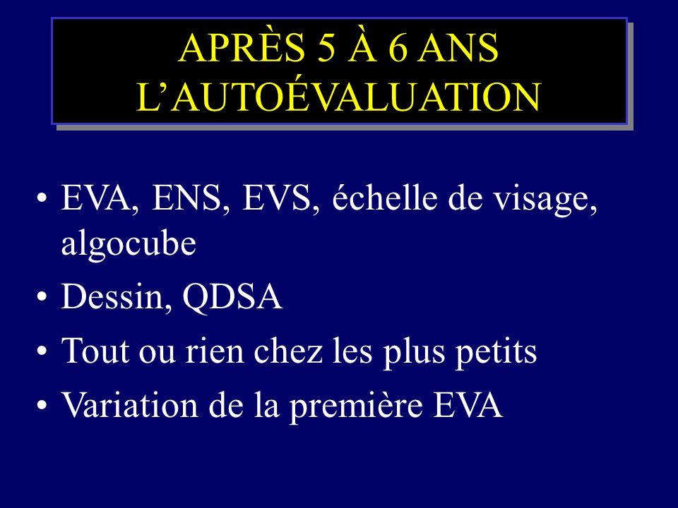 APRÈS 5 À 6 ANS LAUTOÉVALUATION EVA, ENS, EVS, échelle de visage, algocube Dessin, QDSA Tout ou rien chez les plus petits Variation de la première EVA
